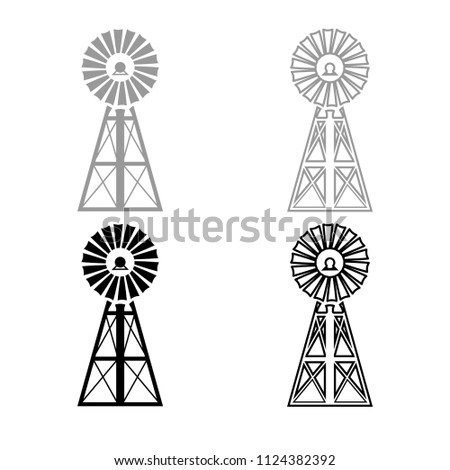 Wind turbine windmill classic american icon outline set grey black color