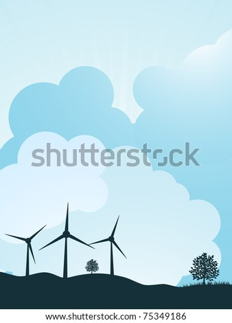 wind turbines and trees on a hillside