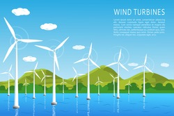 Wind turbines on the water near the seashore, the concept of renewable wind energy. vector illustration, flat style