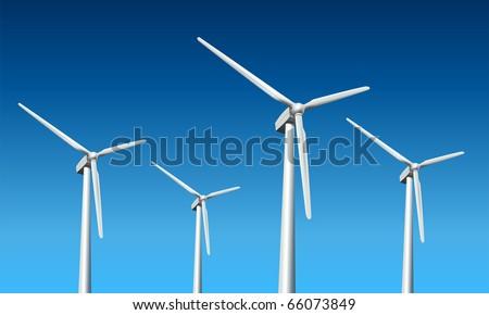 Wind turbines realistic vector illustration,