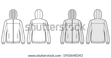 Windbreaker jacket technical fashion illustration with hood, oversized, long sleeves, welt pockets, zip-up opening. Flat coat template front, back white, grey color style. Women, men top CAD mockup Сток-фото ©