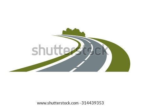 winding paved road icon with