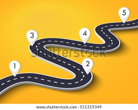 Winding Road on a Colorful Background. Road way location infographic template with pin pointer. Vector EPS 10
