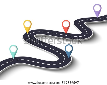 winding road on a white