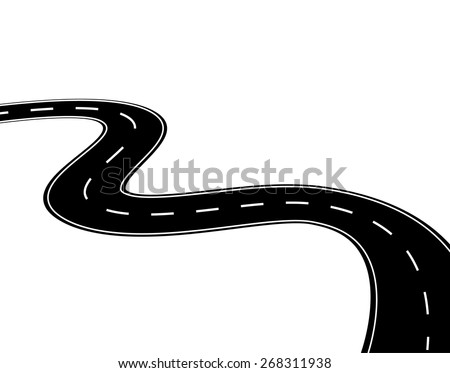 Winding road  or highway isolated on white background,  vector