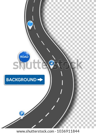 Winding road. The roadway location isinfographic template with contact pointers. Vector illustration.