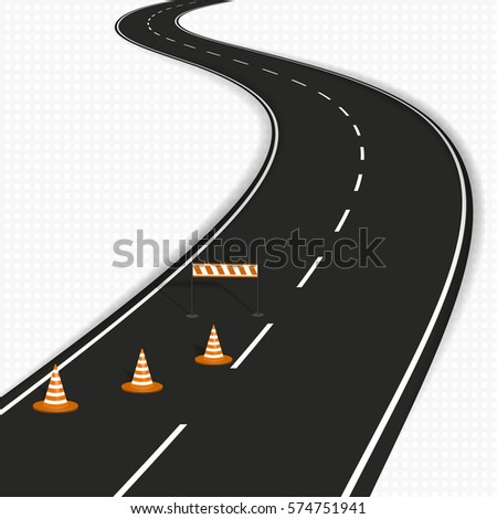 winding road with traffic cones isolated on white background. vector illustration