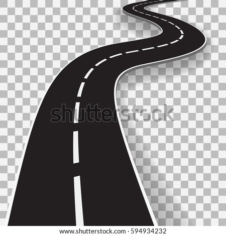 Winding Road With Transparent Shadow Template. EPS10 Vector