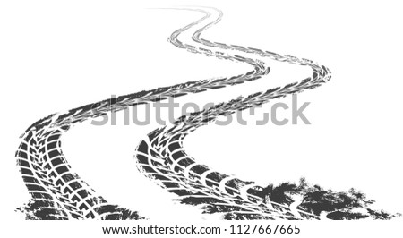 winding tire track curved