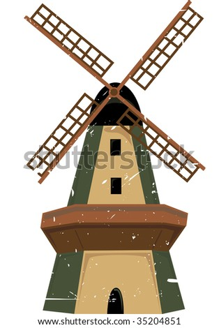 Windmill accented by grunge isolated
