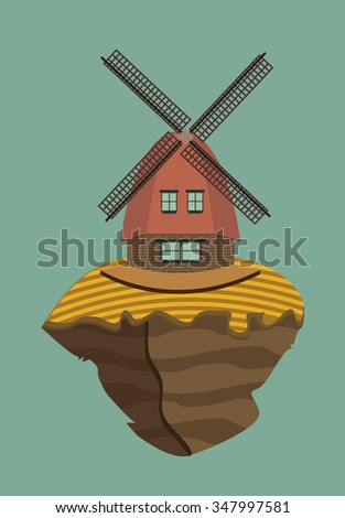 windmill and arable land on a