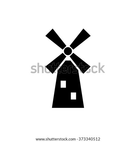 windmill black line icon vector