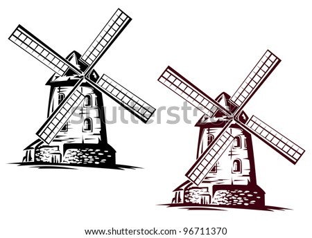 Windmill building in retro style for vintage concept design. Jpeg version also available in gallery