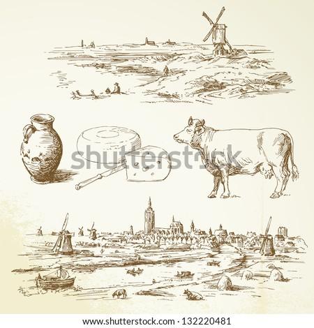 windmill in nederland  hand
