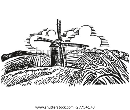 windmill in the fields vector illustration