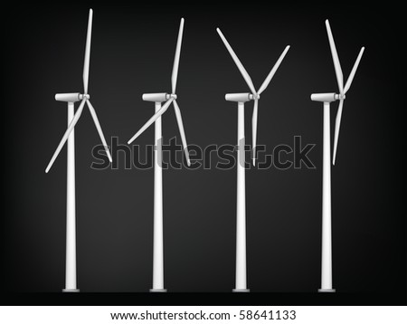 Windmill Isolated on White Background. Vector.