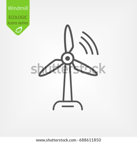 Windmill Line Vector Icon