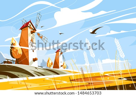 Windmill near wheat field vector illustration. Building with sails or vanes that turn in wind and generate power to grind grain into flour flat style concept