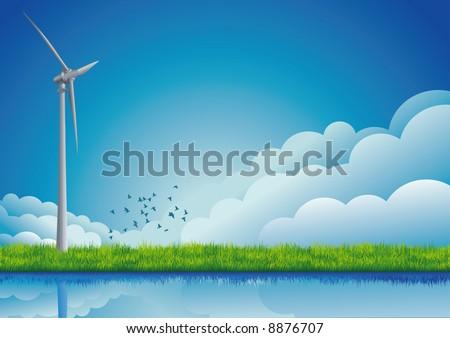 Windmill on the field.