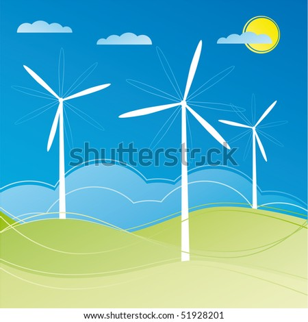 windmill on the field vector illustration