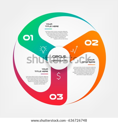 Windmill, propeller, gradient circle infographics step by step. Element of chart, graph, diagram with 3 options - parts, processes, timelines. Vector business template for presentation