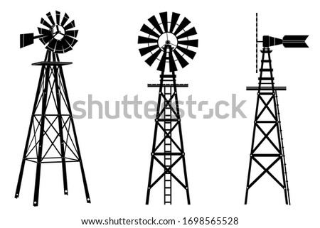 Windmill silhouette illustration vector on white background ストックフォト ©