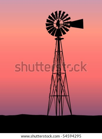 Windmill Silhouette Sunset