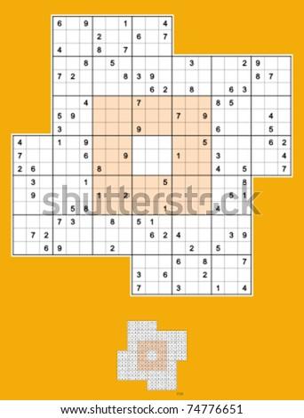 Windmill Sudoku, symmetrical, 98 clues. Medium difficulty. Vector.