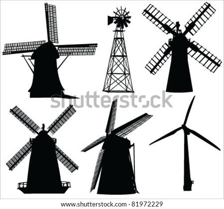 windmills and wind turbine vector