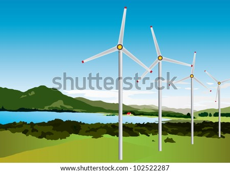 windmills in landscape vector