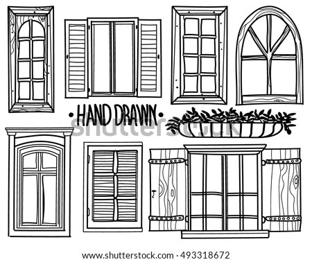 vintage window drawing. window. a set of drawings by hand. shuttered windows, open modern vintage window drawing g