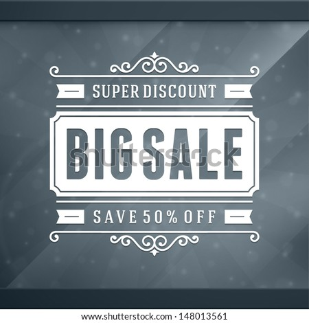 Window advertising sale 50% off decals graphics. Vector design elements set. Discount sale sign.