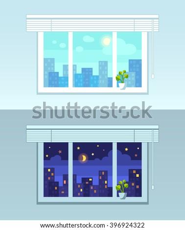 window and city view  night