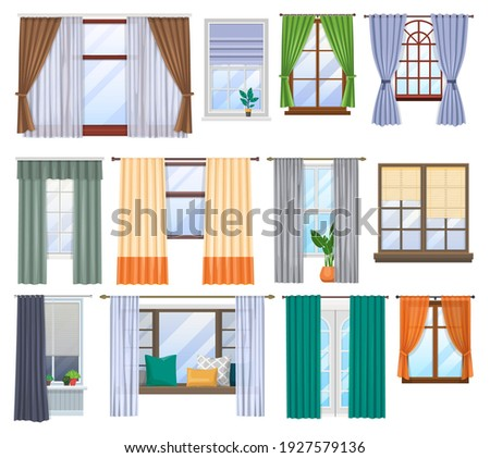 Window and curtains, blind drapes and shutters, vector flat interior of home room. House window and windowsills decor design with classic roller jalousie, modern window frames and pillows on sill