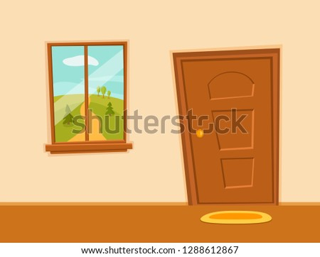 Window and door cartoon colorful vector illustration valley summer sun landscape with road, trees green field. House apartment entrance corridor flat design. Home exit interior view freedom conce