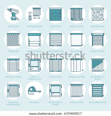 Window blinds, shades line icons. Various room darkening decoration, roller shutters, roman curtains, horizontal and vertical jalousie. Interior design thin linear colored signs for house decor shop.