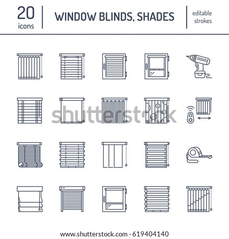 Shutterstock Window blinds, shades line icons. Various room darkening decoration, roller shutters, roman curtains, horizontal and vertical jalousie. Interior design thin linear signs for house decor shop.