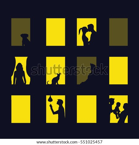 window city at night. Vector illustration of apartment blocks with windows, in which the gap silhouettes of people, girls, boys, baby, cat, dog. concept diversity different  of life