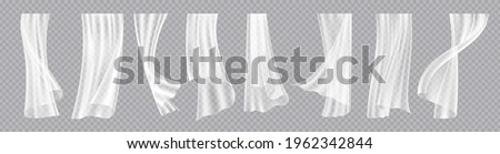 Window curtains. Realistic flowing cloth with wind breeze effect. Interior decorative elements. Elegant lightweight drapes template. Hanging fabric set. Vector room design accessories Stockfoto ©