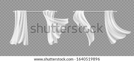 Window curtains. Transparent white silk hanging fabric. Isolated realistic interior design and decoration of windows. Light flying cloth vector illustration