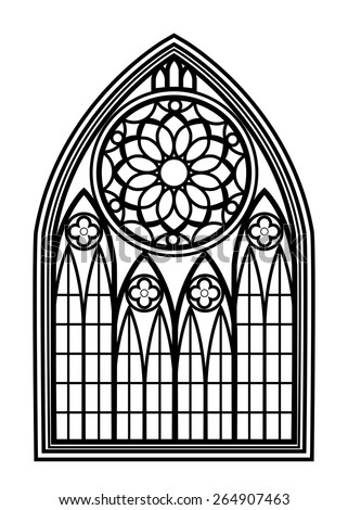 Window for churches and monasteries. Architecture and cathedral, medieval and gothic. Vector illustration
