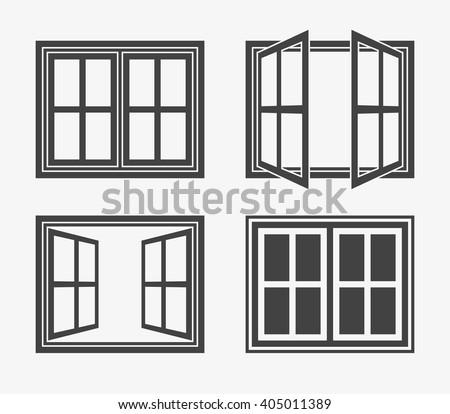 window icon in trendy flat