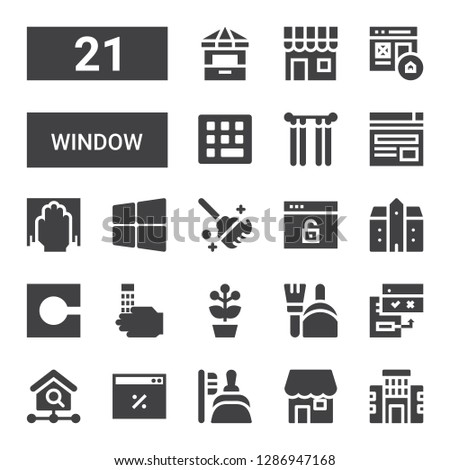 window icon set. Collection of 21 filled window icons included Building, Shop, Dustpan, Browser, Homepage, Browsers, Flower pot, Wash, Code, Mansion, Clean, Windows, Cleaning