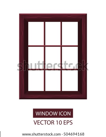 Window icon. Vector illustration 10eps. Flat style. Window frame isolated. Red wood texture.