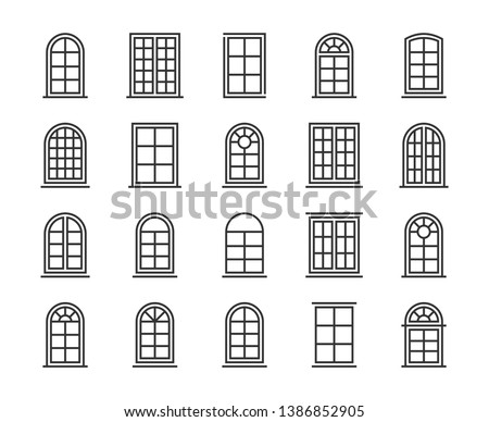 Window icon. Window line icon set. Editable stroke, 64x64 Pixel perfect.