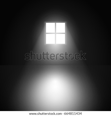 window in a dark room with