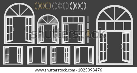 Window, large set of Windows with glass and without, white window frames, various shapes and styles. Handles and hinges for open Windows, doors of different colors. Vector realistic illustration, 3d.