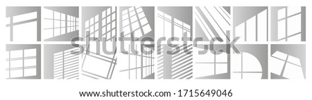 Window light vector illustration set. Sunlight reflection of window frames of square, round shape or in perspective. Day lighting overlay effect on room wall, ceiling or floor mockup design background Foto stock ©
