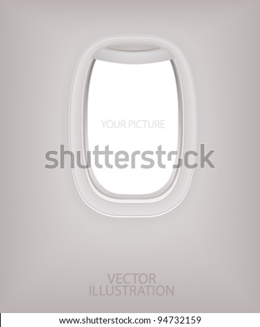 Window of airplane (flight concept). Creative design of travel by plane. Interior of aircraft with your ideas of view from Porthole. Background of business voyage (trip). Vector layout