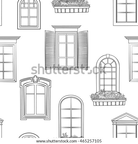 Window pattern different architectural style of windows for Window design sketch